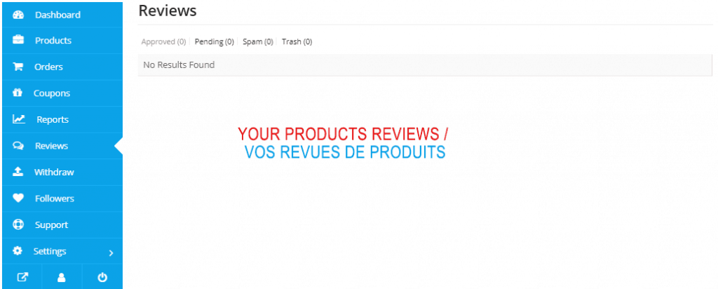 How to use the REVIEWS PAGE in The Vendor dashboard 1