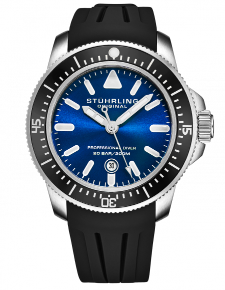 Stuhrling Men's Maritimer Quartz Blue Dial Black Rubber Strap Divers Watch