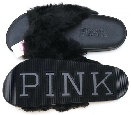 Victoria's Secret PINK Black Faux Fur Fluffy Fuzzy Slipper Sandals