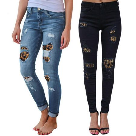 Leopard Ripped Distressed Frayed Skinny Slim Denim Pants Jeans