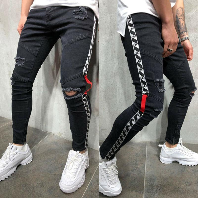 Slim Skinny Jeans Destroyed Distressed Ripped Frayed Denim Pants
