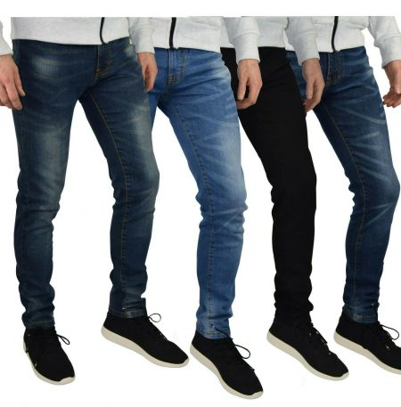 Mens Slim Fit Stretch Jeans Comfy Fashionable Super Flex Denim