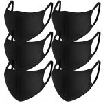 Cotton Mouth Mask, Paxcoo 6 Pack Anti Dust Mask Black Cut EXO Face Mask for Women and Men 3