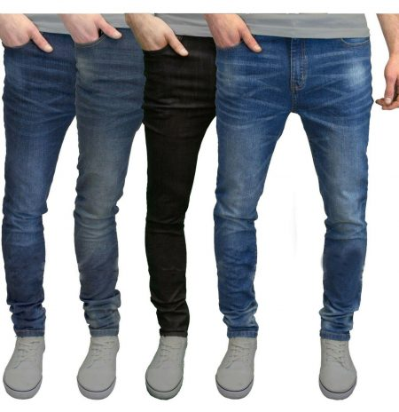 Mens Slim Fit Jeans Super Stretch Denim Pants Slim Skinny