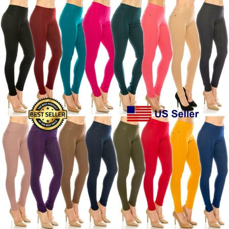 Classic Basic Solid Cotton Stretchy Skinny soft Denim Jeggins