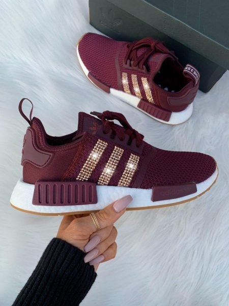 Wine Rose Gold Swarovski Adidas NMD (Custom) 5