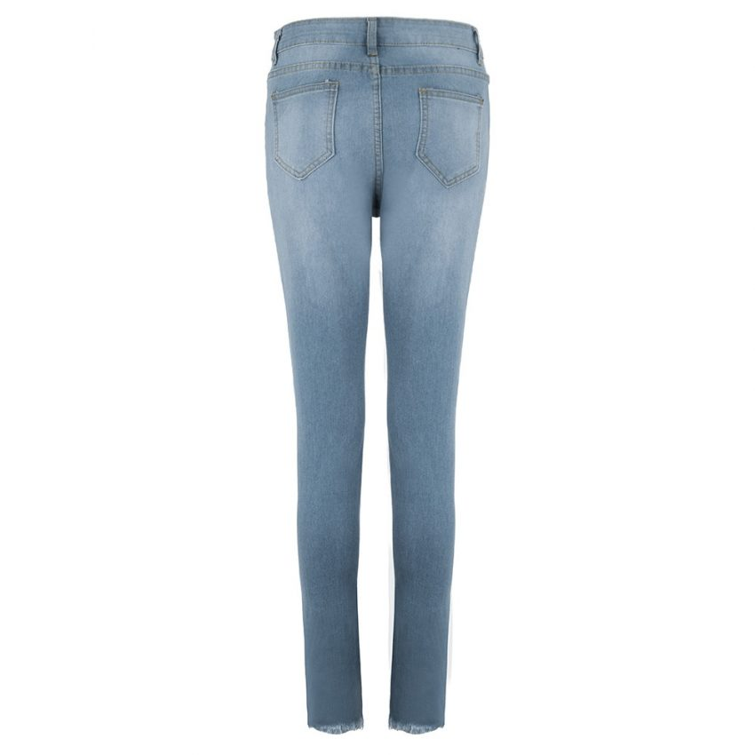 Destroyed Knee Holes Pencil Jeans 2