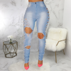 Hole Elastic Pocket High Waist Jeans 2