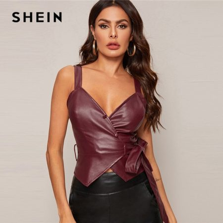 Surplice Wrap Leather Glamorous Vests 1