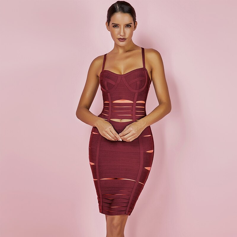 Sexy Hollow Out Bandage Dresses 2020 2