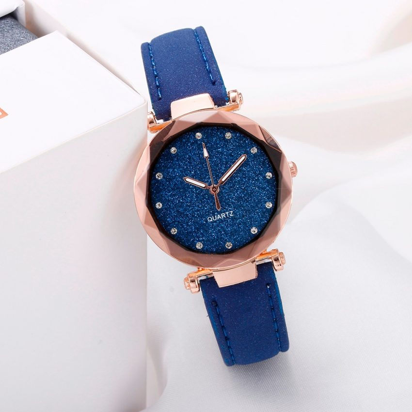 Romantic Leather Rhinestone Starry Sky Wrist Watch 2