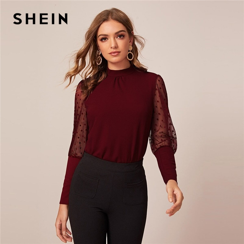 Dobby Mesh Leg-of-mutton Sleeve Top 3