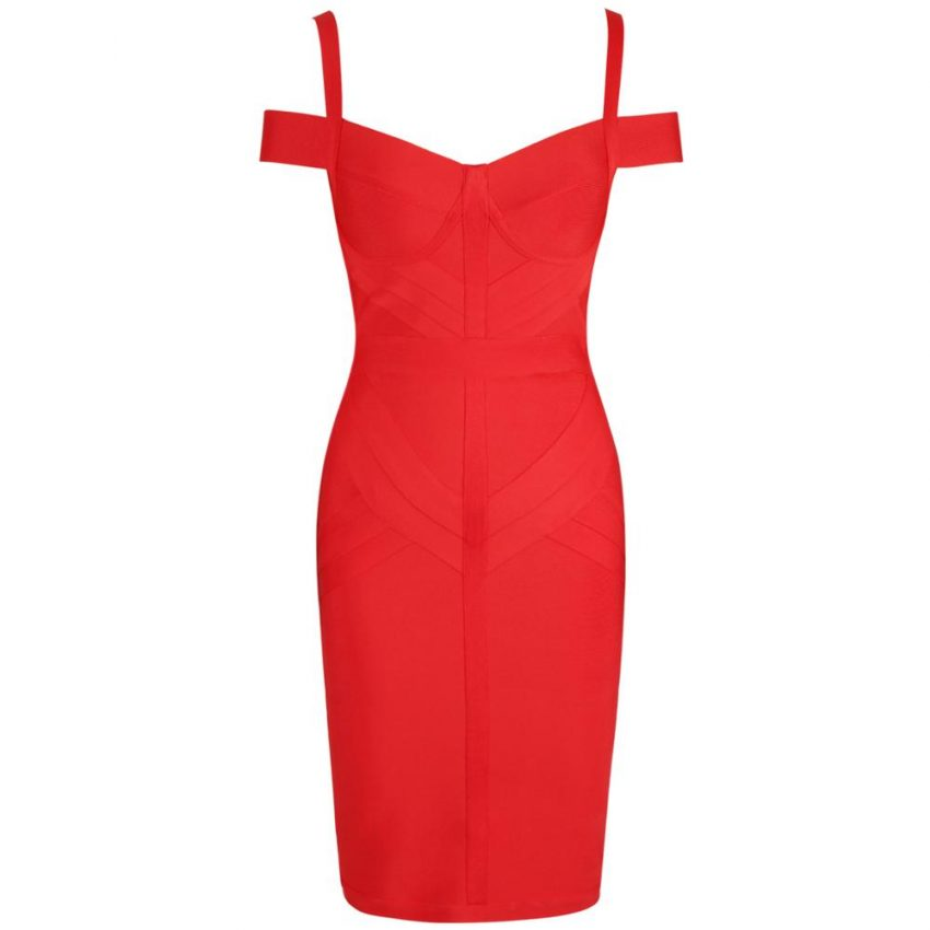 New Red Off Shoulder Bandage Dress 4