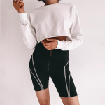 Women Reflective letter print shorts 2