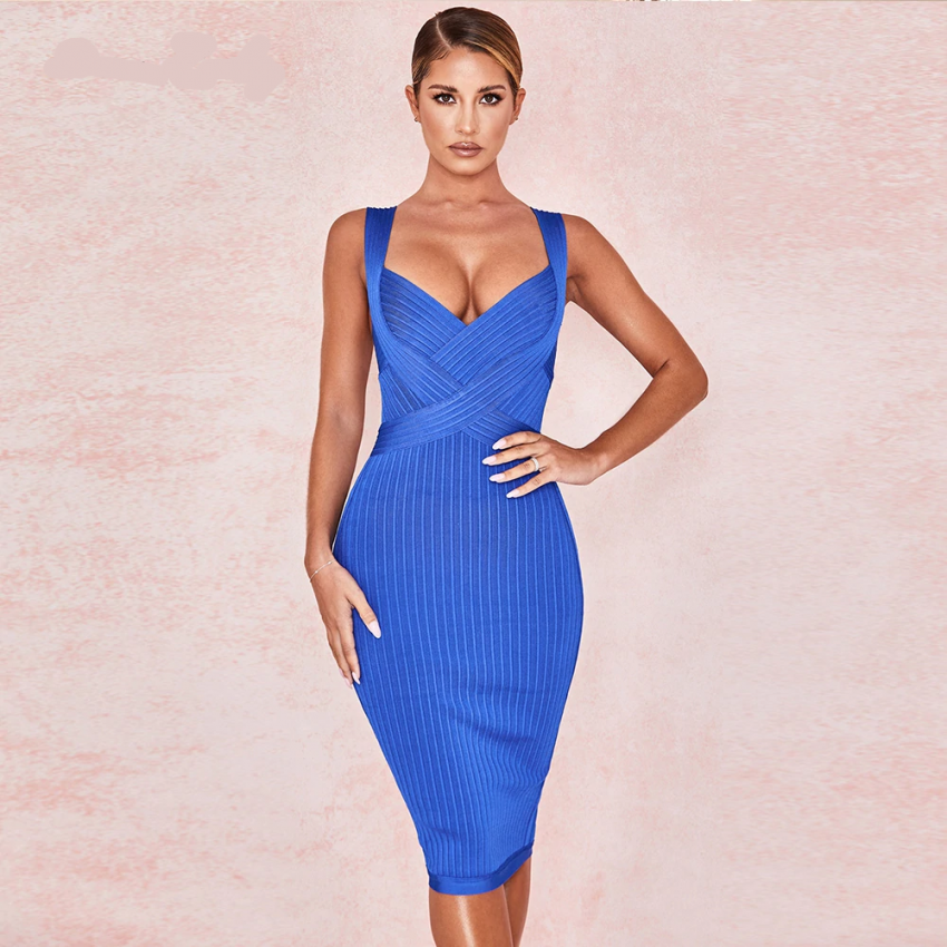 Royal Blue Bandage V Neck Dress