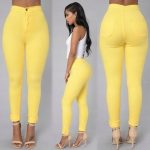 Candy Color Casual Yellow Jeans 1