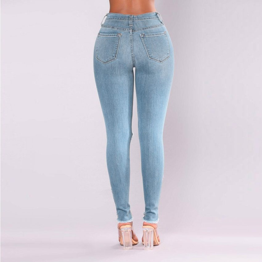 Destroyed Knee Holes Pencil Jeans 3