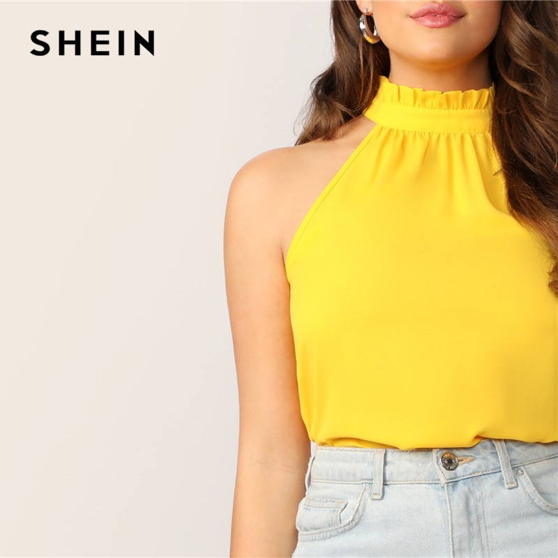 Bright Yellow Frilled Halterneck Blouse 4