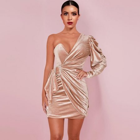 Mini Wrinkled Tie Bodycon Dress 1