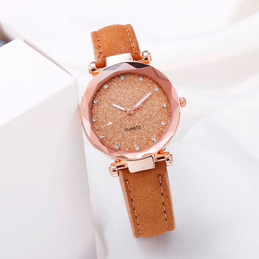 Romantic Leather Rhinestone Starry Sky Wrist Watch 3