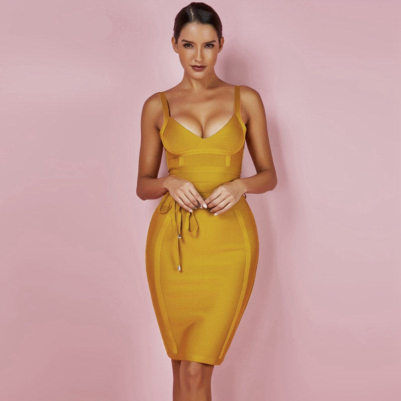 Yellow Bodycon Dress V Neck Dress