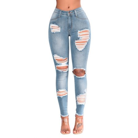Destroyed Knee Holes Pencil Jeans 1