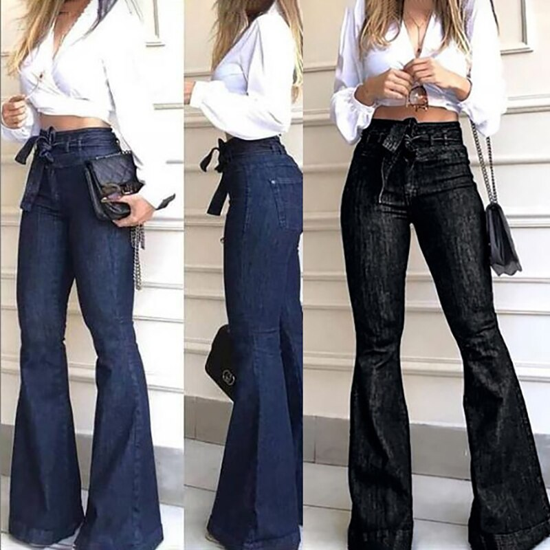 Women Female High-waisted Jeans 5