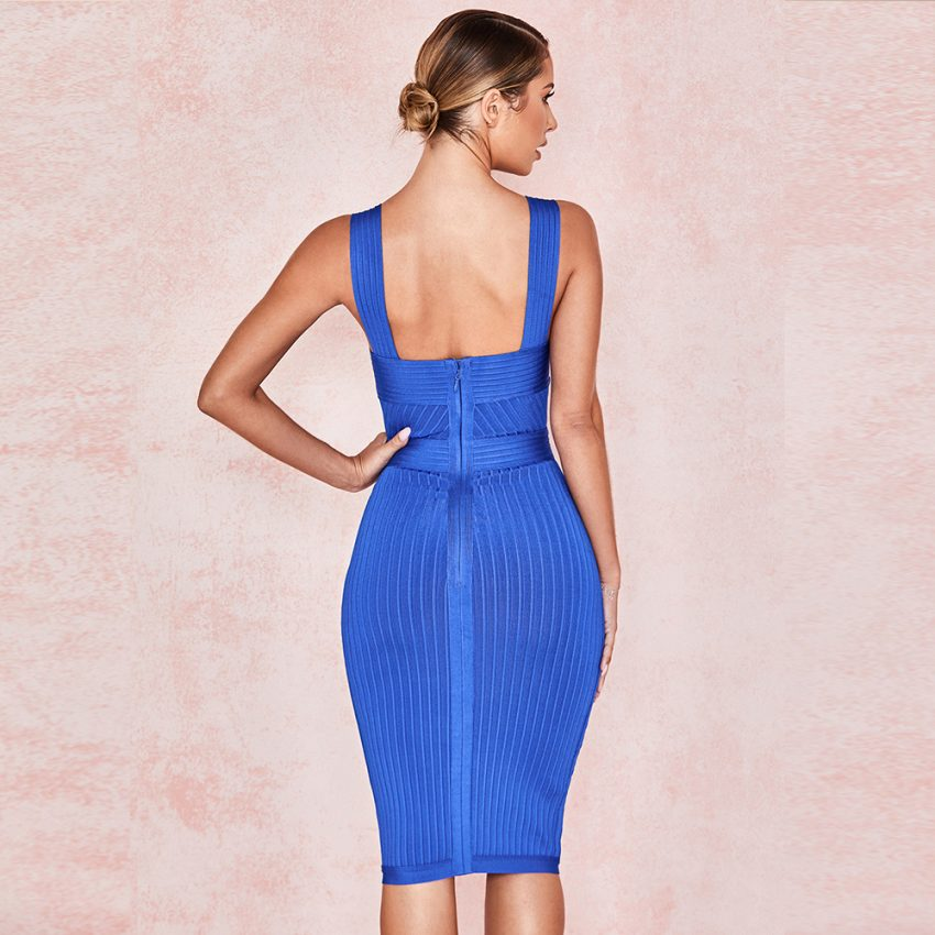 Royal Blue Bandage V Neck Dress  3