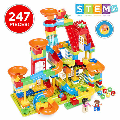 BCP Kids 247-Piece Building Block Marble Run STEM Toy Track Set w/ Ramps, Slides