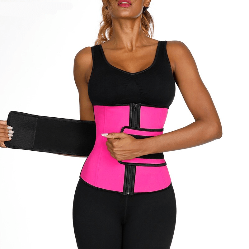 Pink Latex Waist Trainer with Slimming Belt 4
