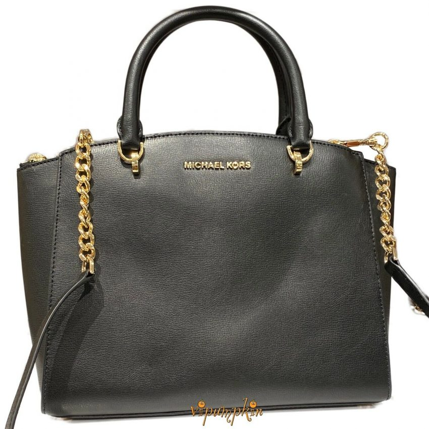 Michael Kors Ellis Large Satchel Leather Bag Black 3