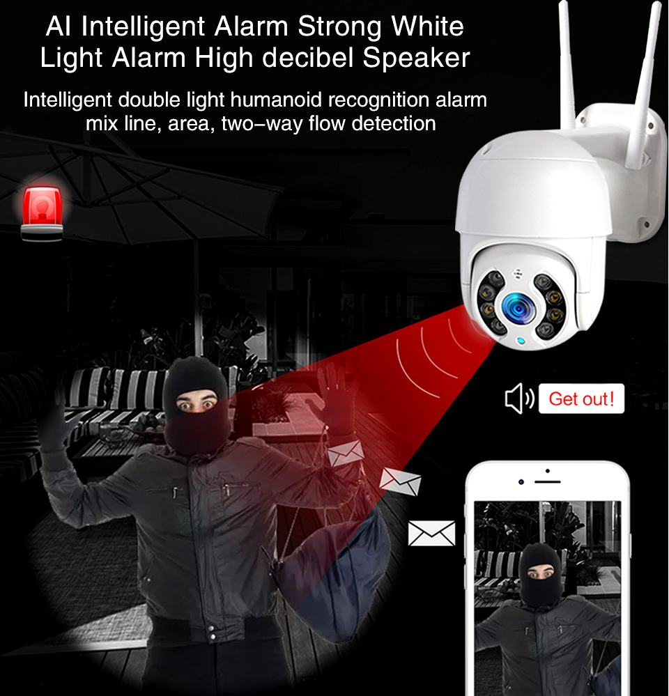 WiFi IP Camera Outdoor Night Vision Mini Speed Dome CCTV Camera 1080P Home Security 3