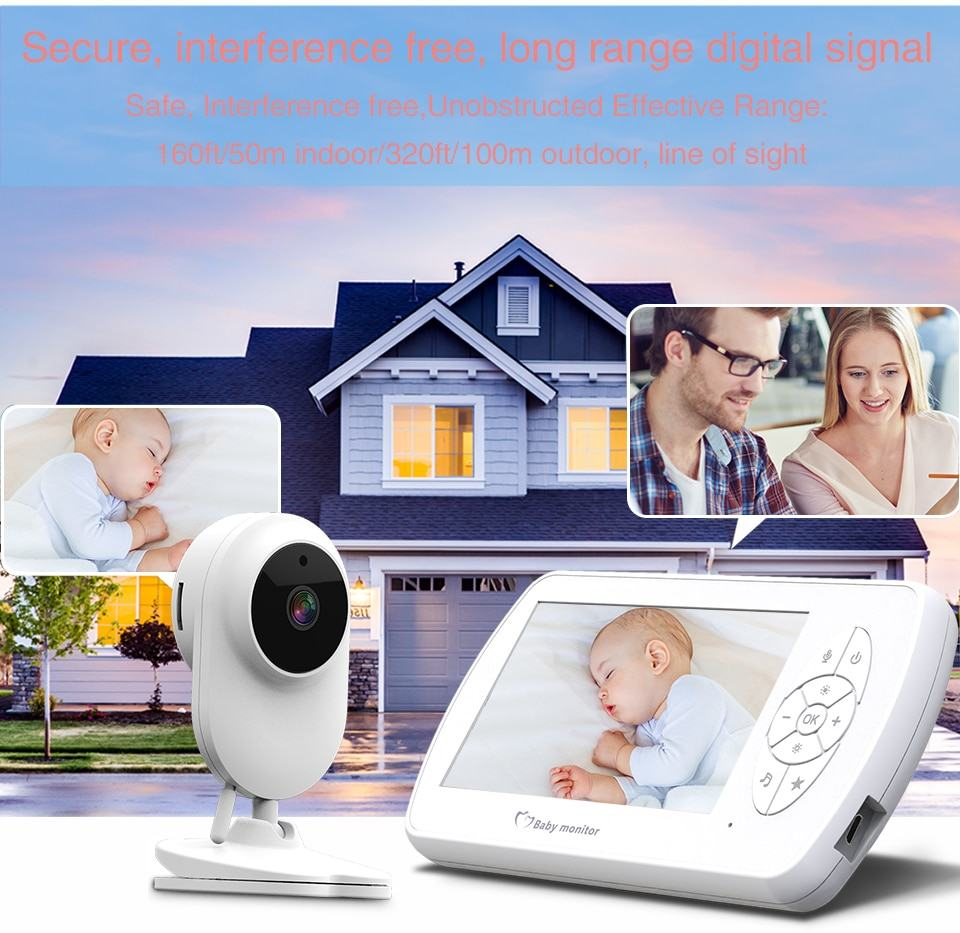 Baby Monitor Two way Audio Nanny Video 4.3 inch Baby Security Camera 8