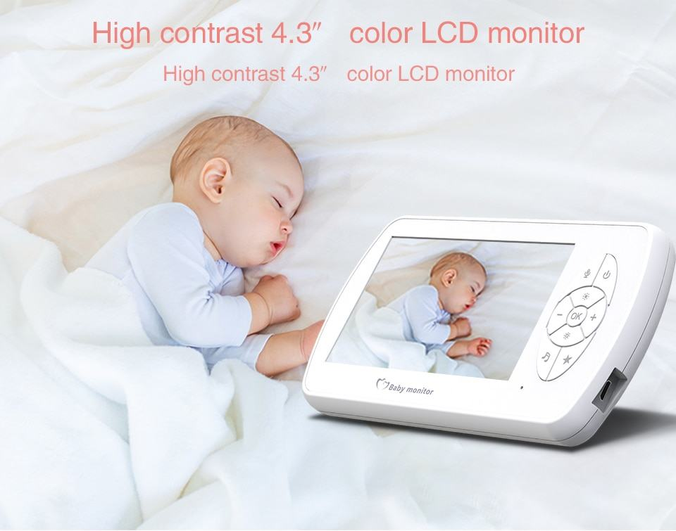 Baby Monitor Two way Audio Nanny Video 4.3 inch Baby Security Camera 12