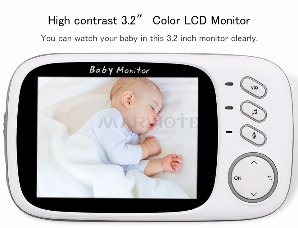 Baby Monitor electronics monitors with 3.2 inch LCD Night vision Two way talk 8