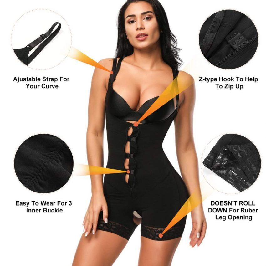 Clip and Zip Waist Lace Slimming Shaper Corset  2