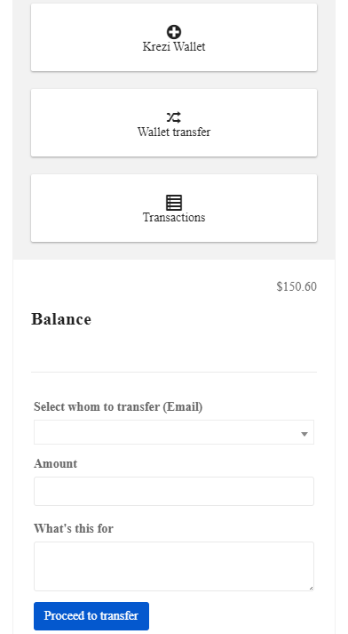 Transfer or Recharge your Krezi Wallet 5