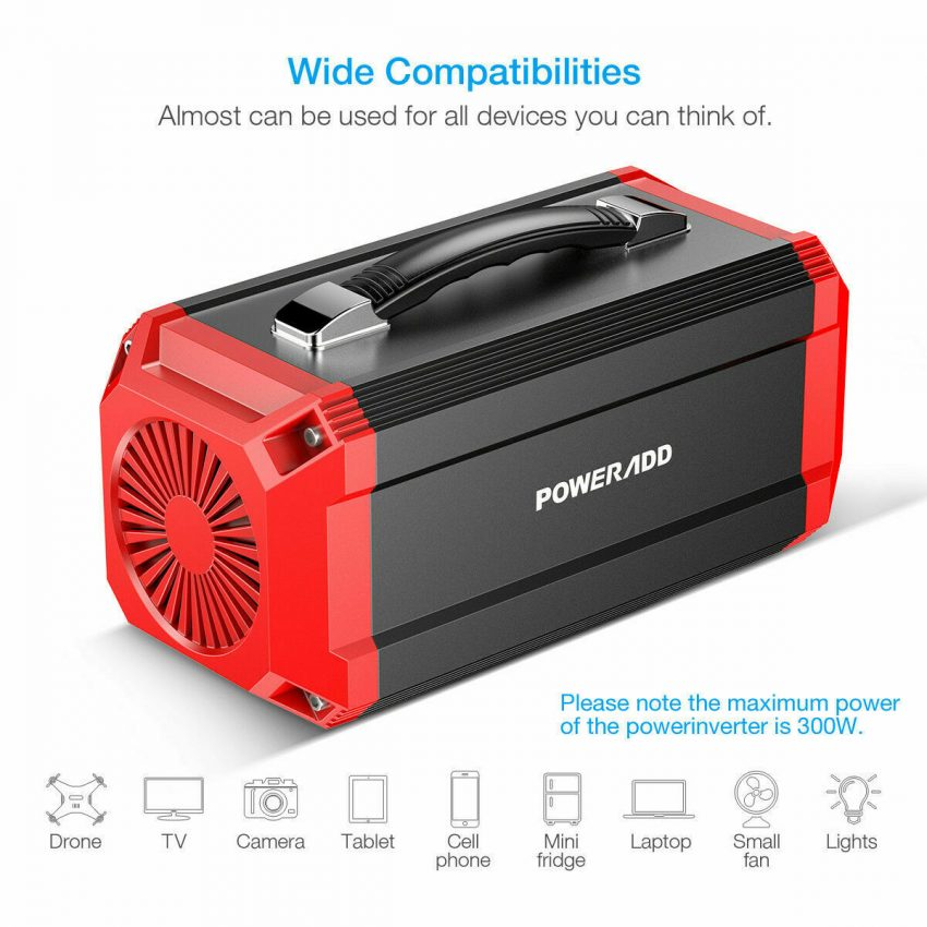 Poweradd 73000mAh Portable Solar Power Inverter Generator Supply Energy Storage 4