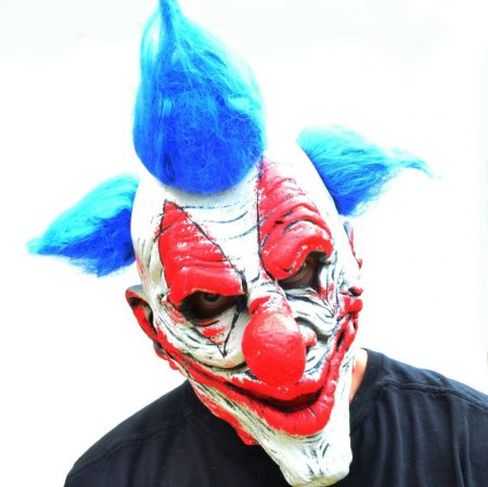 Halloween Clown Mask Killer Clown Scary Evil Latex Silver BLUE HAIR Clown