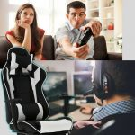 White Office Chair High back Computer Racing Gaming Chair Ergonomic Chair 5
