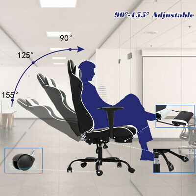 White Office Chair High back Computer Racing Gaming Chair Ergonomic Chair 3