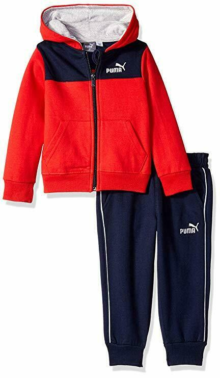 PUMA Little Boys' Fleece Zip Up Hoodie Set (Ages 12 months - 4 Years)