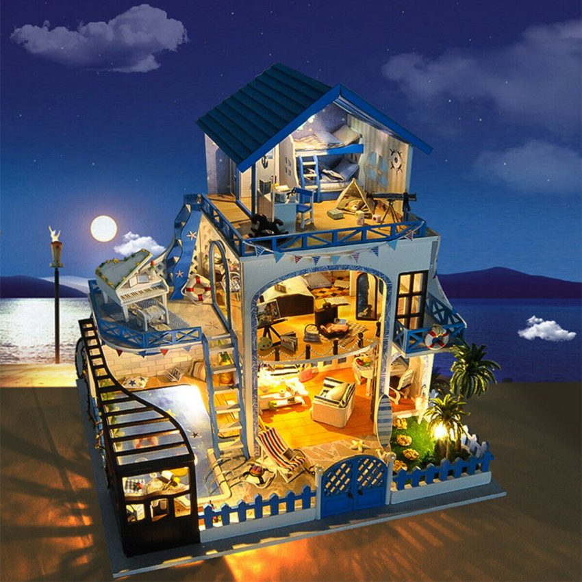 DIY Miniature Dollhouse Kit Mini Wooden House with Furniture LED Lights Kid Gift 8