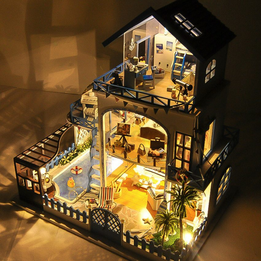 DIY Miniature Dollhouse Kit Mini Wooden House with Furniture LED Lights Kid Gift 7