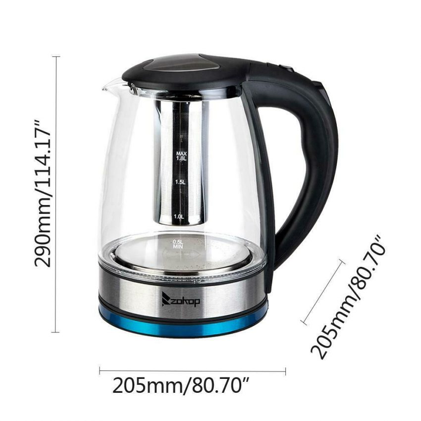 Electric Kettle Glass Water Boiler Fast Boiling Tea Kettle 1.8L Stainless LED 8