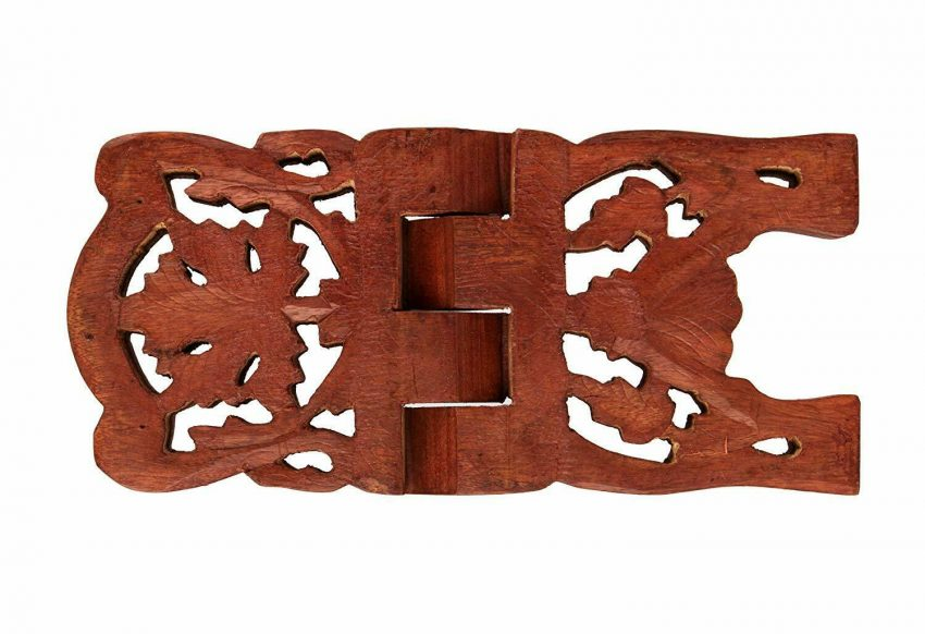 Exquisite Hand Carved Wooden Folding Book Stand Holder with Intricate Carvings 3