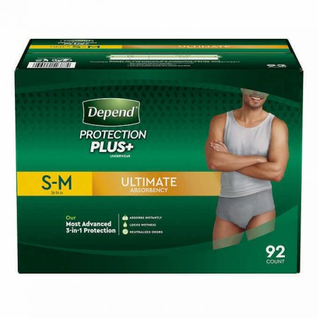 Depend FIT-FLEX Underwear for Men Size: Sm/Med - 92Ct - Free Shipping!