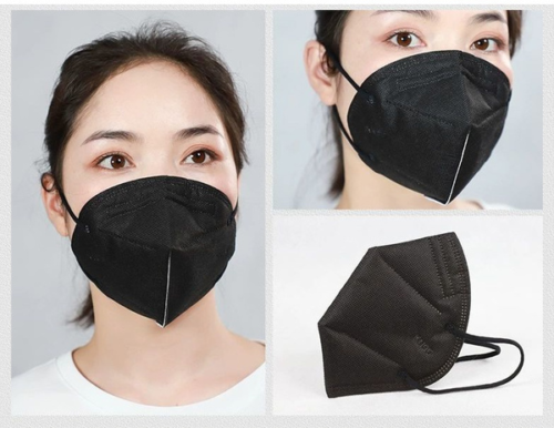 100 Black Color KN95 Protective 5 Layer Face Mask Disposable Respirator BFE 95% 2