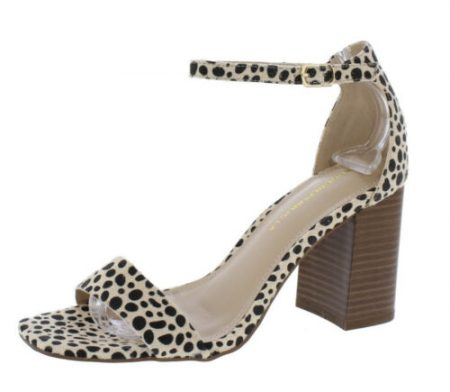 Cheetah Print Square Open Toe Ankle Strap High Heel Sandals