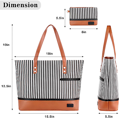 Laptop Tote Bag for Women Large Canvas Womens Briefcase Waterproof Computer Bag 4